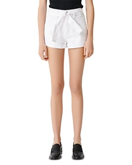 Maje - Illo Belted Jean Shorts in White