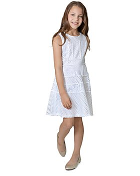 US Angels -  Girls' Mesh & Lace Paneled Dress, Big Kid - 100% Exclusive