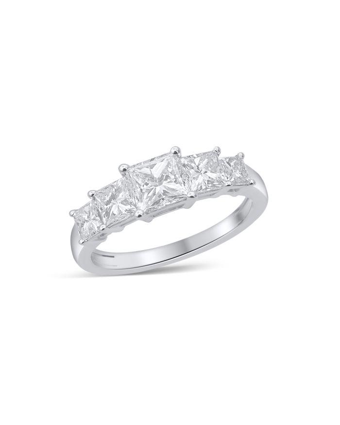 Bloomingdale's Princess Cut Diamond 5 Stone Band in 14K White Gold, 2.0 ct. t.w.    Bloomingdale's