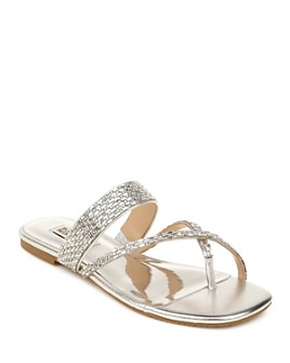 Badgley Mischka - Women's Zelah Crystal Embellished Flat Sandals