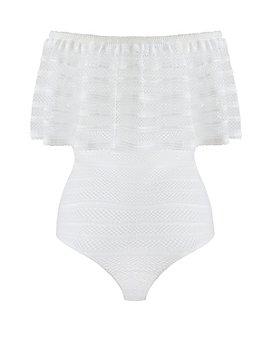 BCBGMAXAZRIA - Lace Ruffle Bodysuit
