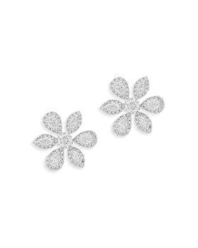 Bloomingdale's - Fancy Cut Diamond Flower Stud Earrings in 14K White Gold, 1.0 ct. t.w.