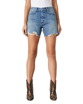 GRLFRND - Jourdan Distressed Jean Shorts in Mystic