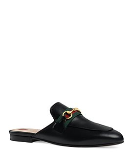 Gucci - Women's Princetown Stripe Web Leather Mules