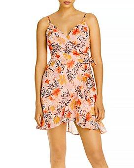 AQUA - Floral Sleeveless Faux Wrap Dress - 100% Exclusive