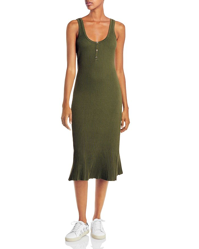 Lini Ribbed Henley Sheath Dress - 100% Exclusive In Army