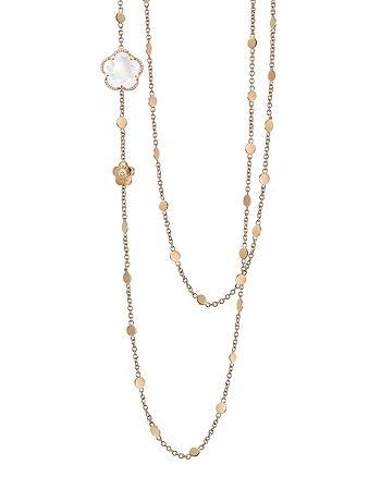 """Pasquale Bruni - 18K Rose Gold Bon Ton Floral Milky Quartz & Diamond Necklace, 40"""""""