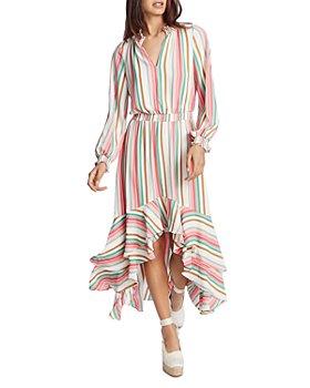 1.STATE - Multi Striped Ruffled Midi Dress