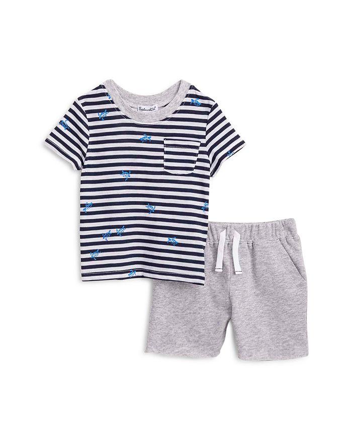 Splendid - Unisex Striped Turtle Print Tee & Shorts Set - Baby