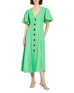 Nicholas TROY LINEN LANTERN SLEEVE DRESS