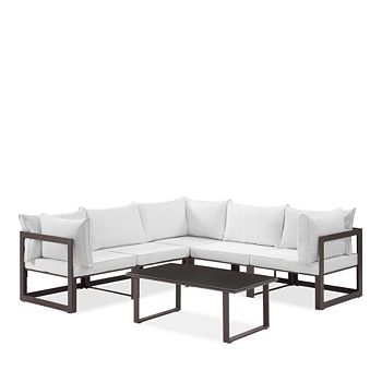 Modway - Fortuna 6 Piece Outdoor Patio Modular Sectional Sofa Set L Configuration and Large Coffee Table