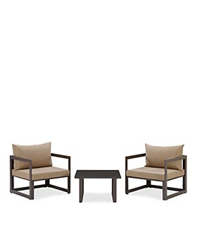 Modway - Fortuna 3 Piece Outdoor Patio Armchair and Side Table Set