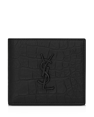 Saint Laurent Croc Embossed Monogram Bi Fold Wallet-Men