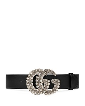 Gucci - Women's Leather Belt with Crystal Double G Buckle