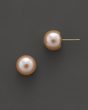 Cultured Freshwater & Natural Color Peach Pearl Stud Earrings, 10mm