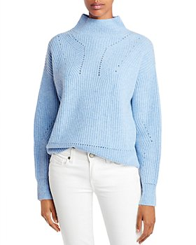 AQUA - Novelty Stitch Cashmere Mock Neck Sweater - 100% Exclusive