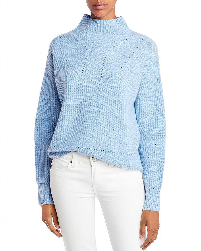 AQUA - Novelty Stitch Cashmere Mock Neck Sweater - 100% Exclusive