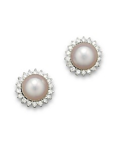 Cultured Akoya Pearl Stud Earrings with Diamonds in 14K White Gold, 6.5mm - Bloomingdale's_0