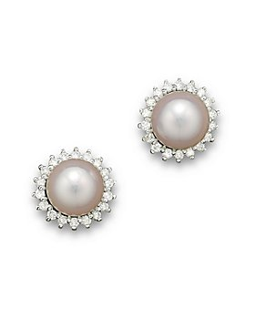 Bloomingdale's - Cultured Akoya Pearl Stud Earrings with Diamonds in 14K White Gold, 6.5mm- 100% Exclusive