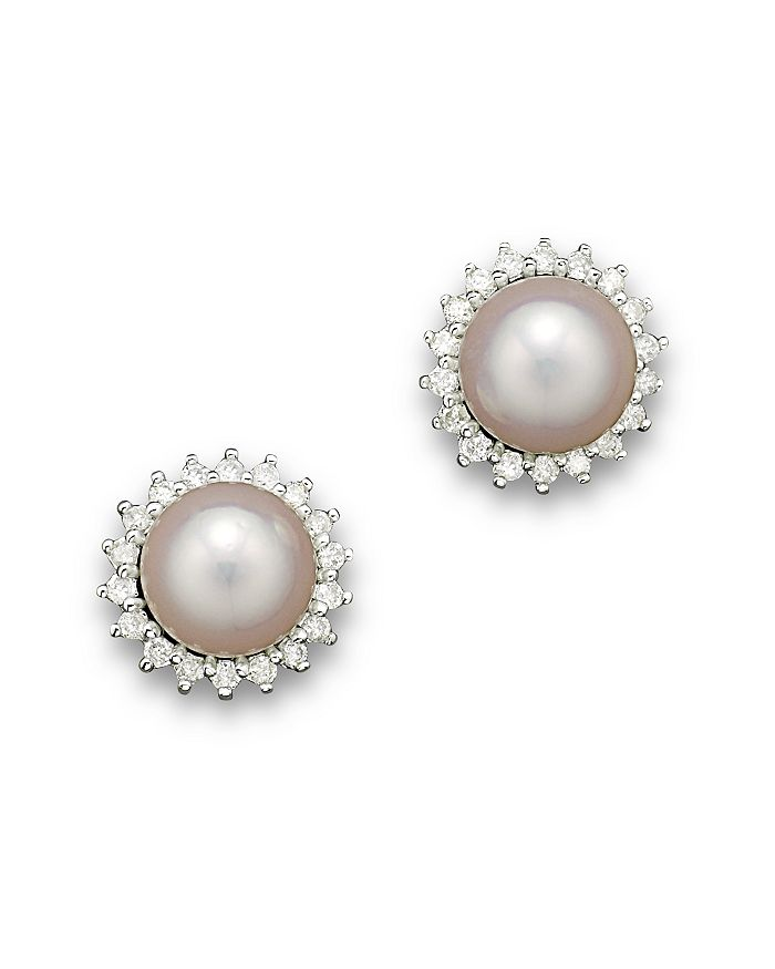 Cultured Akoya Pearl Stud Earrings With Diamonds In 14k White Gold 6 5mm