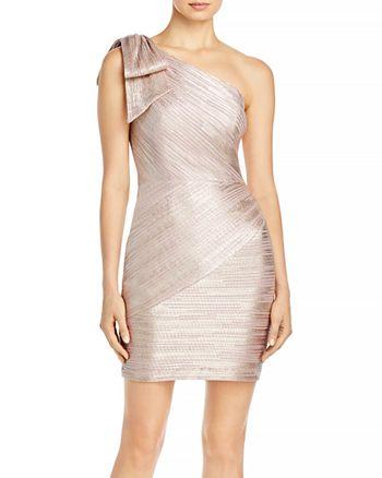 AQUA - One Shoulder Metallic Sheath Dress - 100% Exclusive