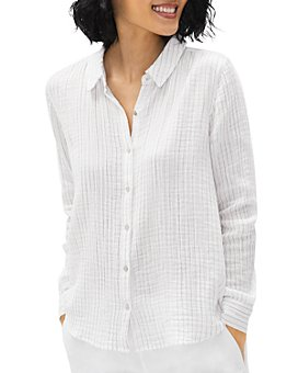 Eileen Fisher - Striped Button Down Cotton Shirt