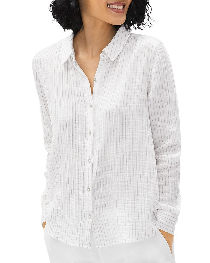 Eileen Fisher STRIPED BUTTON DOWN COTTON SHIRT