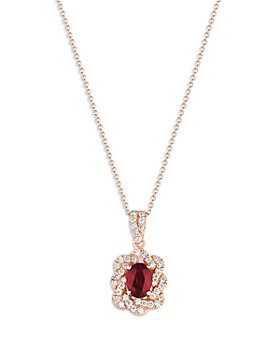 "Bloomingdale's - Ruby and Diamond Pendant Necklace in 14K Rose Gold, 21.6"" - 100% Exclusive"