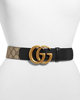 Gucci - Women's Double G Buckle GG Supreme Belt