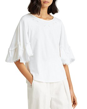 Ralph Lauren - Embroidered Ruffled Top