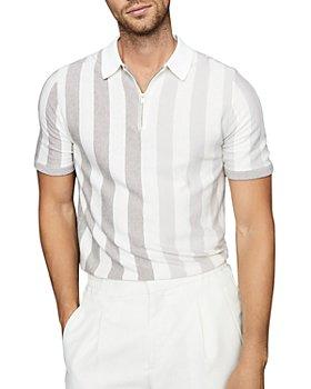 REISS - Marino Striped Half Zip Polo