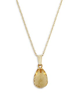"Bloomingdale's - Citrine Briolette Pendant Necklace in 14K Yellow Gold, 18"" - 100% Exclusive"