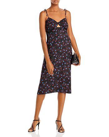 AQUA - Floral Dot Print Midi Dress - 100% Exclusive