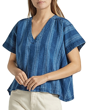 Joie THEOLA STRIPED LINEN & COTTON TOP