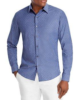 Michael Kors - Cotton Stretch Mini Petal Floral Print Slim Fit Button Down Shirt