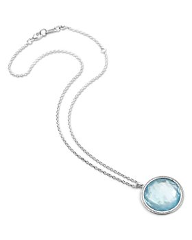 "IPPOLITA - Sterling Silver Lollipop® Swiss Blue Topaz & Diamond Pendant Necklace, 40"""