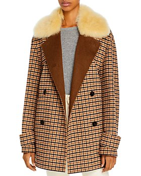 Theory - Dorado Faux Fur Collar Peacoat