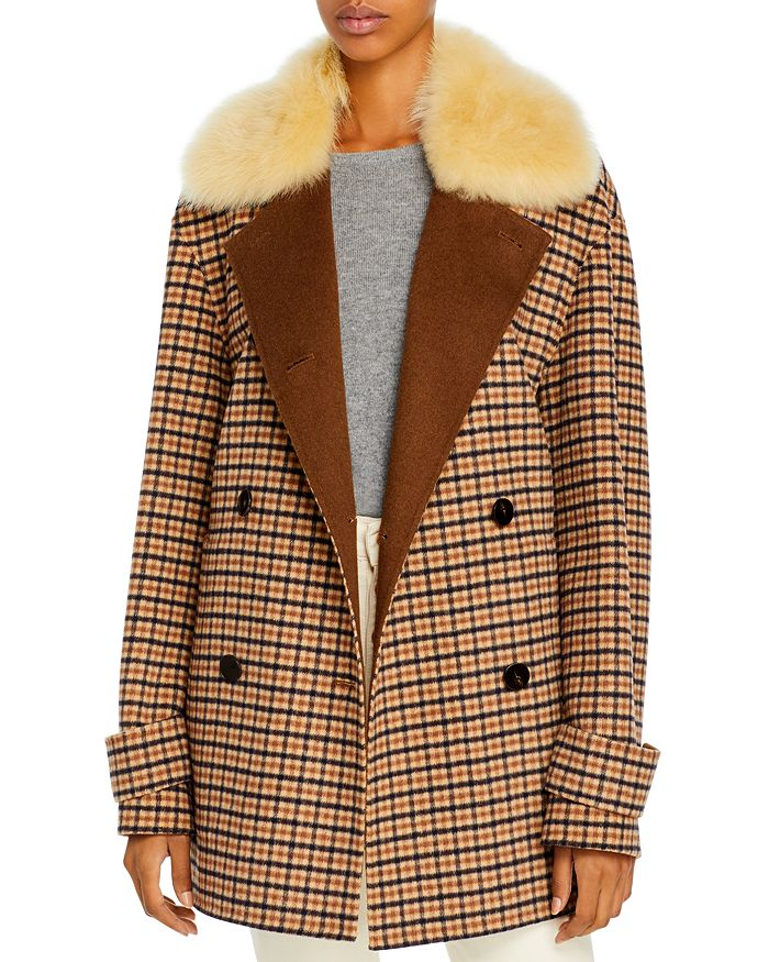 Theory DORADO FAUX FUR COLLAR PEACOAT