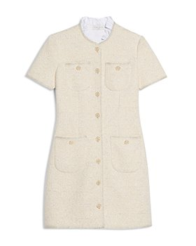 Sandro - Taly Tweed Ruffled Collar Dress
