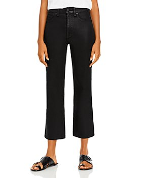 7 For All Mankind - High Waisted Slim Kick Flare Jeans in Coated Black