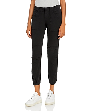 Frame Cropped Moto Jogger Jeans in Washed Black-Women