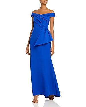 Eliza J Off-the-Shoulder Peplum Gown-Women