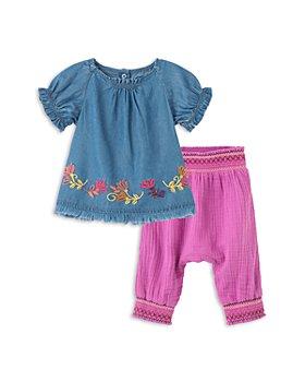 Peek Kids - Girls' Felicity Chambray Top & Crinkled Gauze Pants Set - Baby