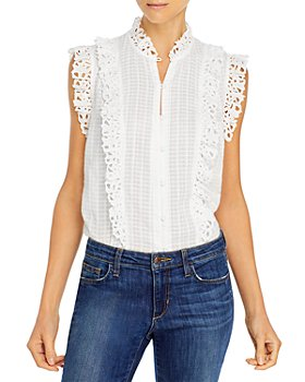 Rebecca Taylor - Sleeveless Palm Embroidered Top