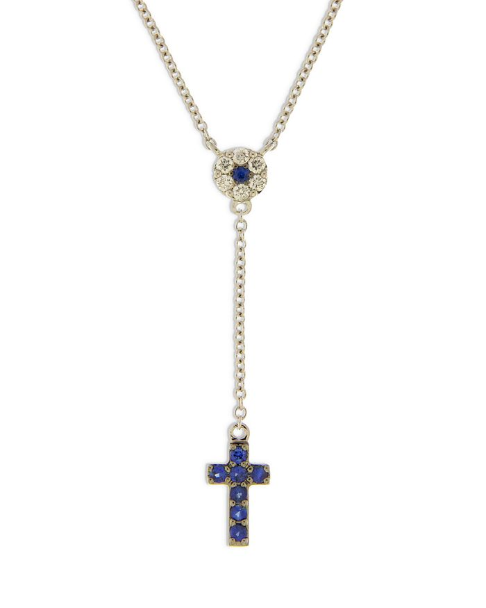 """Bloomingdale's - Blue Sapphire & Diamond Cross Y Necklace in 14K White Gold, 16"""" - 100% Exclusive"""