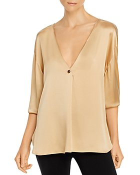 Vince - Button V Neck Silk Top