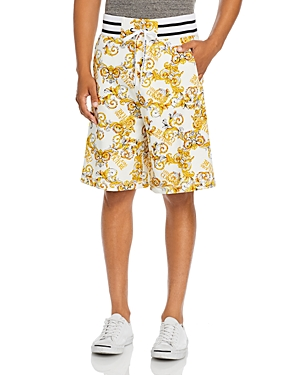Versace Jeans Couture Baroque Logo Printed Fleece Shorts-Men