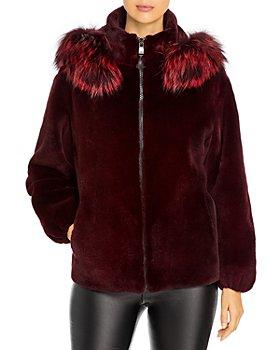 Maximilian Furs - Fox Trim Hooded Mink Fur Coat