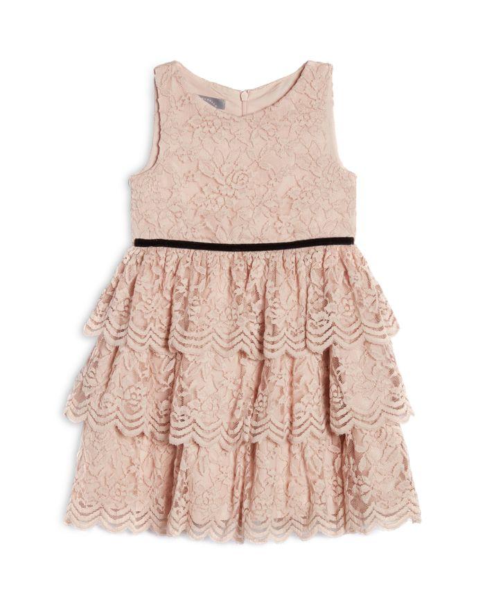 Pippa & Julie Girls' Kamila Blush Lace Tiered Skirt Dress - Big Kid  | Bloomingdale's