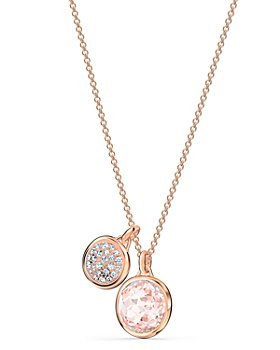 "Swarovski - Tahlia Pavé & Pink Crystal Double Pendant Necklace, 15.62""-17.62"""